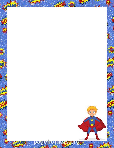 Comics clipart border Superhero  the Border Superhero
