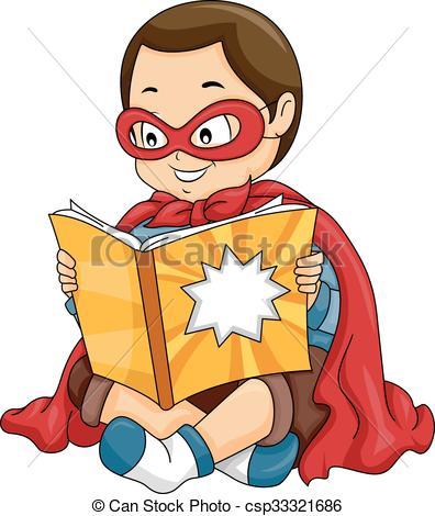 Comics clipart boy reading a book #3