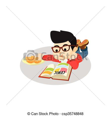 Comics clipart boy reading a book Art reading Search Clip of