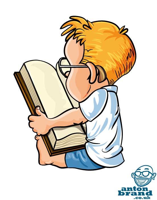 Comics clipart boy reading a book #5