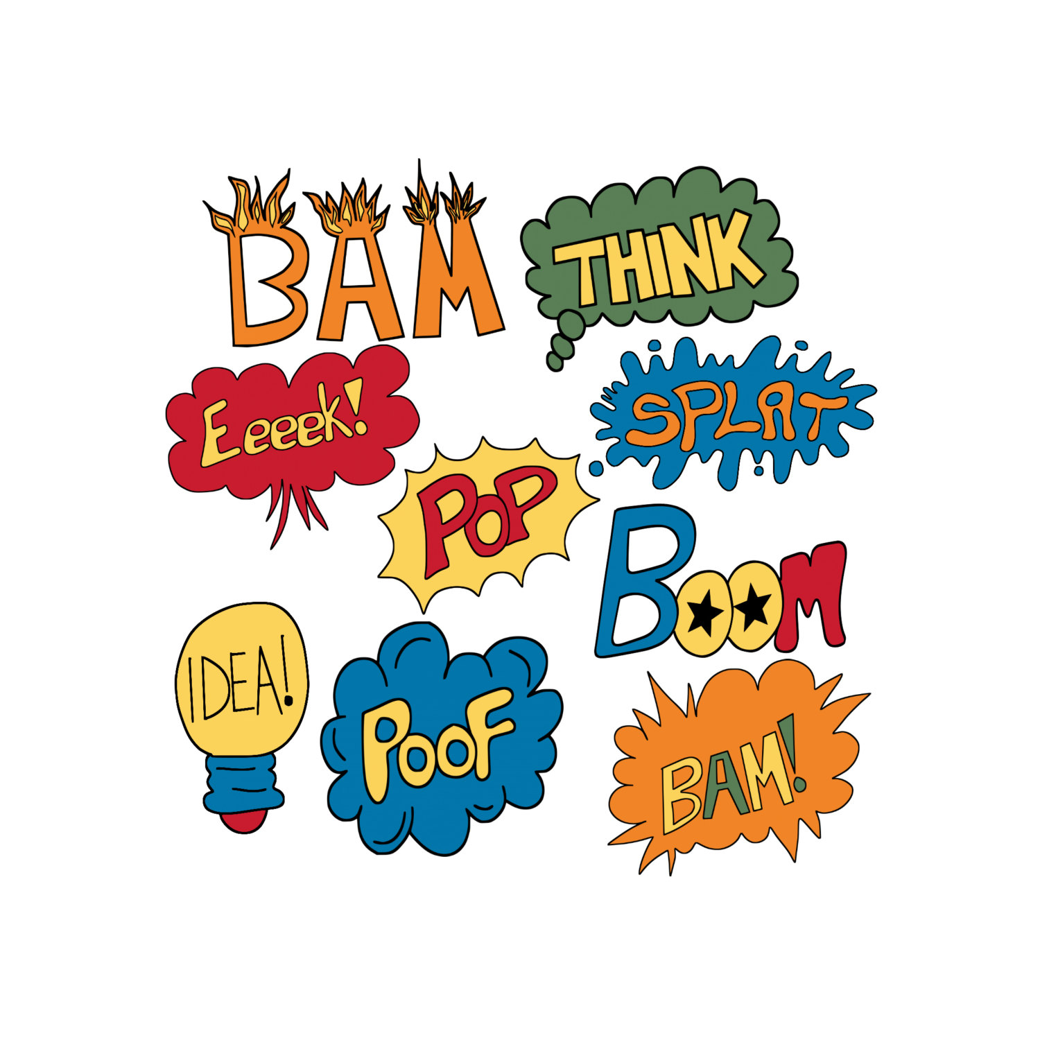 Comic clipart hero word 9 Superhero Word Book Art