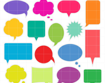 Comic clipart dialogue box Style Colorful Word Bubbles Clouds