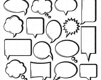 Comic clipart dialogue box Style Digital Style Speech Word
