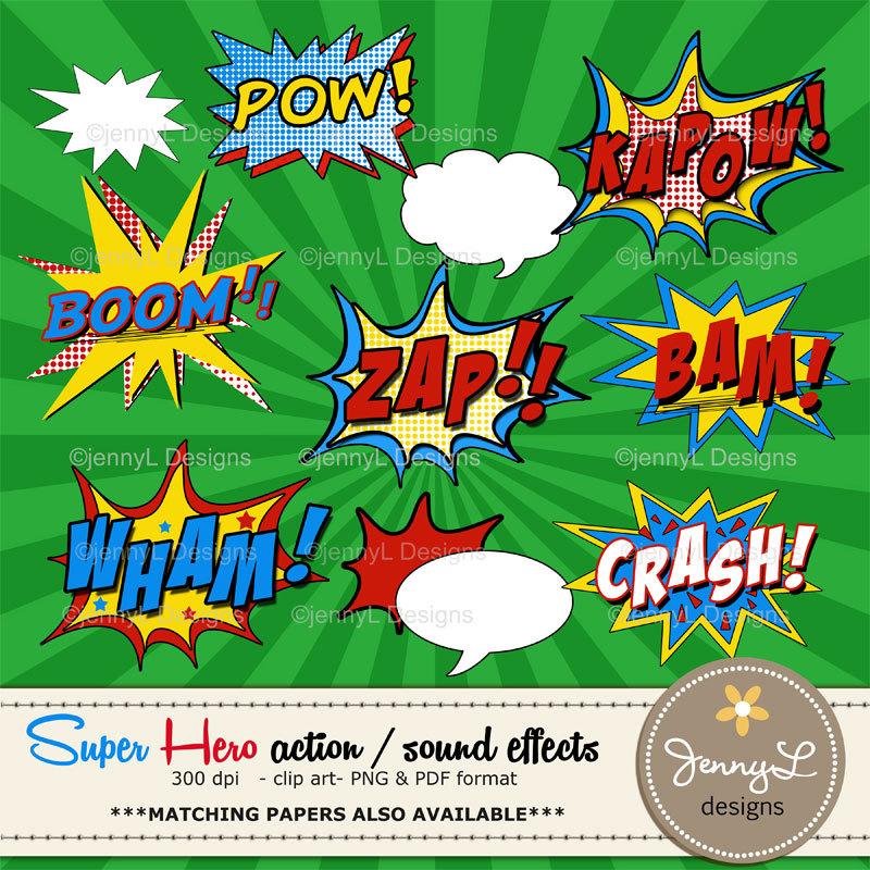 Comics clipart hero word Sound Hero Super Like words