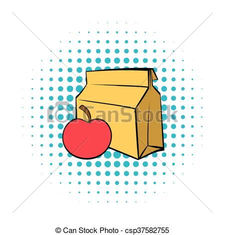 Comics clipart lunch Lunch Apple icon with and