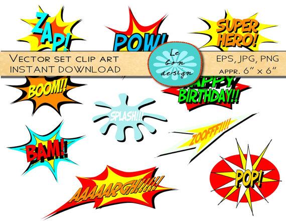 Comics clipart superhero Superhero book text vector clip