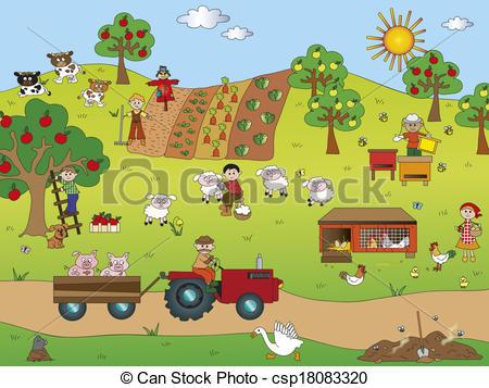 Community clipart country landscape Farm Illustrations landscape Art Stock