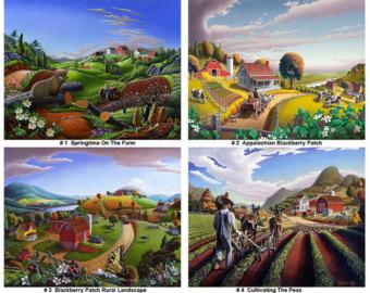Community clipart country landscape Print Volume prints wholesale Farm