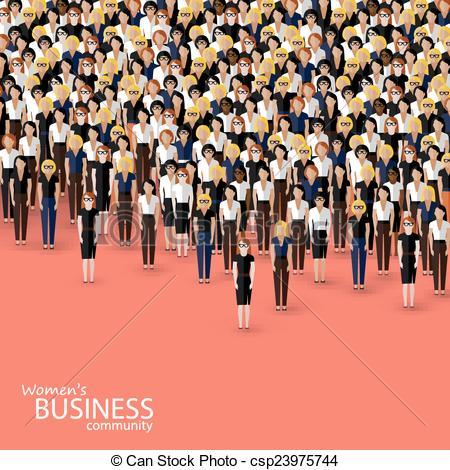 Community clipart crowd Women Vector crowd flat vector