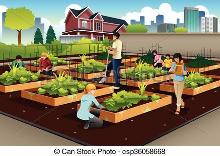 Community clipart vector Community Art in gardening doing