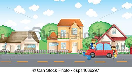 Community clipart village Car csp14636297 boy cleaning A