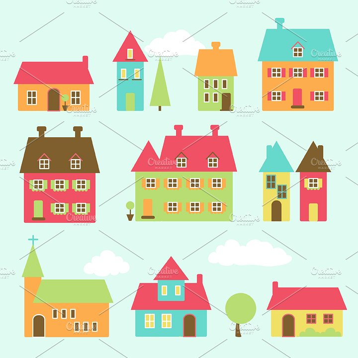 Community clipart village Fonts ~ Creative Themes Graphics