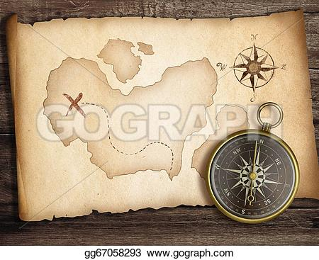 Compass clipart adventure On old table compass table