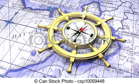 Compass clipart map A of in ship's wheel