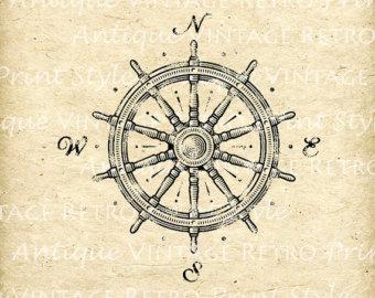 Compass clipart marine Sea Boat Sea Wheel Vintage