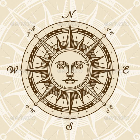 Compass clipart old time Sun images Compass best Rose
