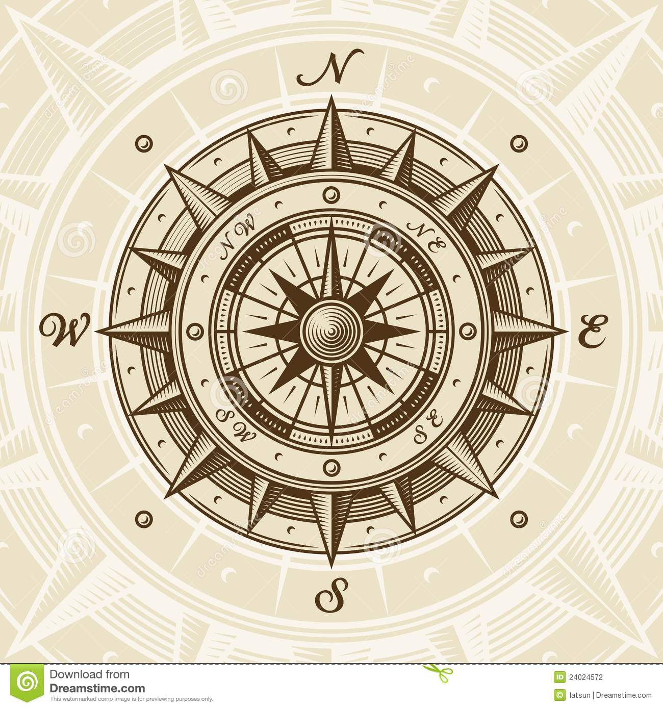 Compass clipart old time Compass style  Vector woodcut