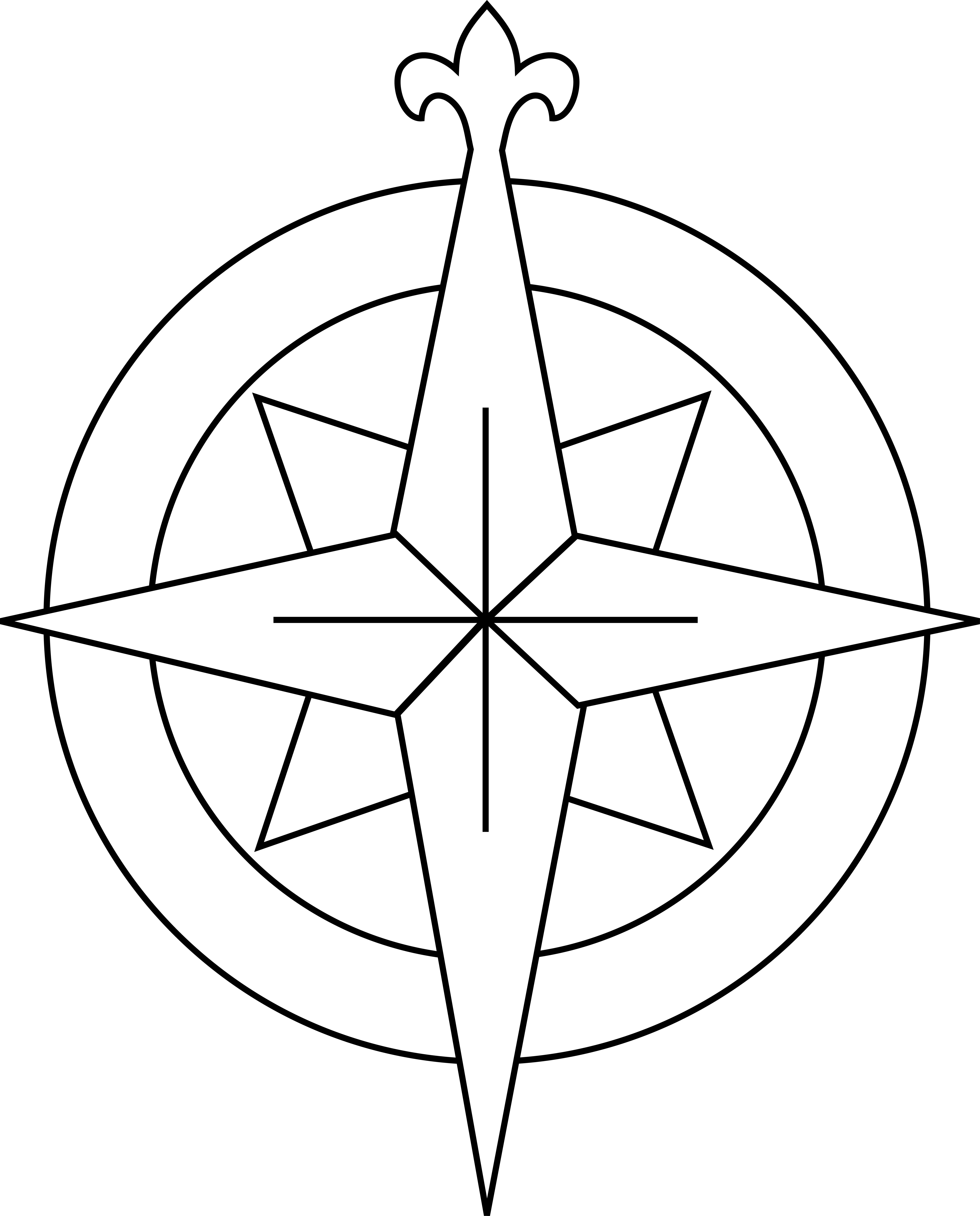 Drawn compass line drawing Images Clip Art : Heraldic