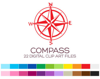 Compass clipart red Nautical Clipart Clip Stickers Art