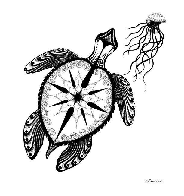 Drawn sea turtle pen and ink And ink Redman  by