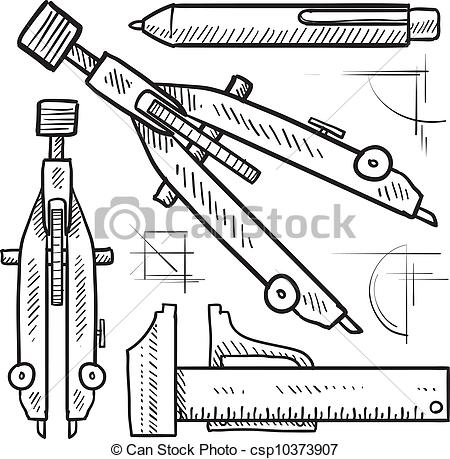 Compass clipart sketch Tools style of Vector drafting