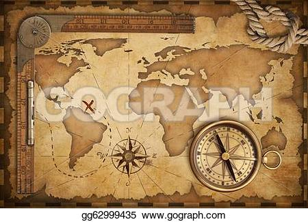 Compass clipart treasure map Ruler brass still and Drawing