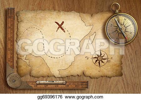Compass clipart treasure map Treasure  compass wooden old