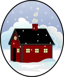 Winter clipart snow day Winter House Image: with falling