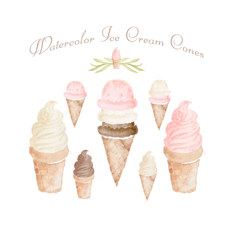 Cone clipart color pink Watercolor 8 Clipart  set