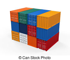 Container clipart Shipping Illustrations Shipping container Stacked
