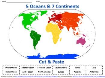 Continent clipart 5 ocean 5 Label Paint plates Oceans