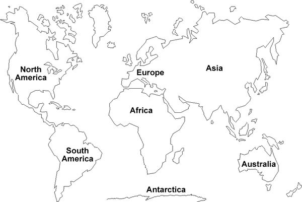 Continent clipart black and white Printable Map clipart Earth Clipart