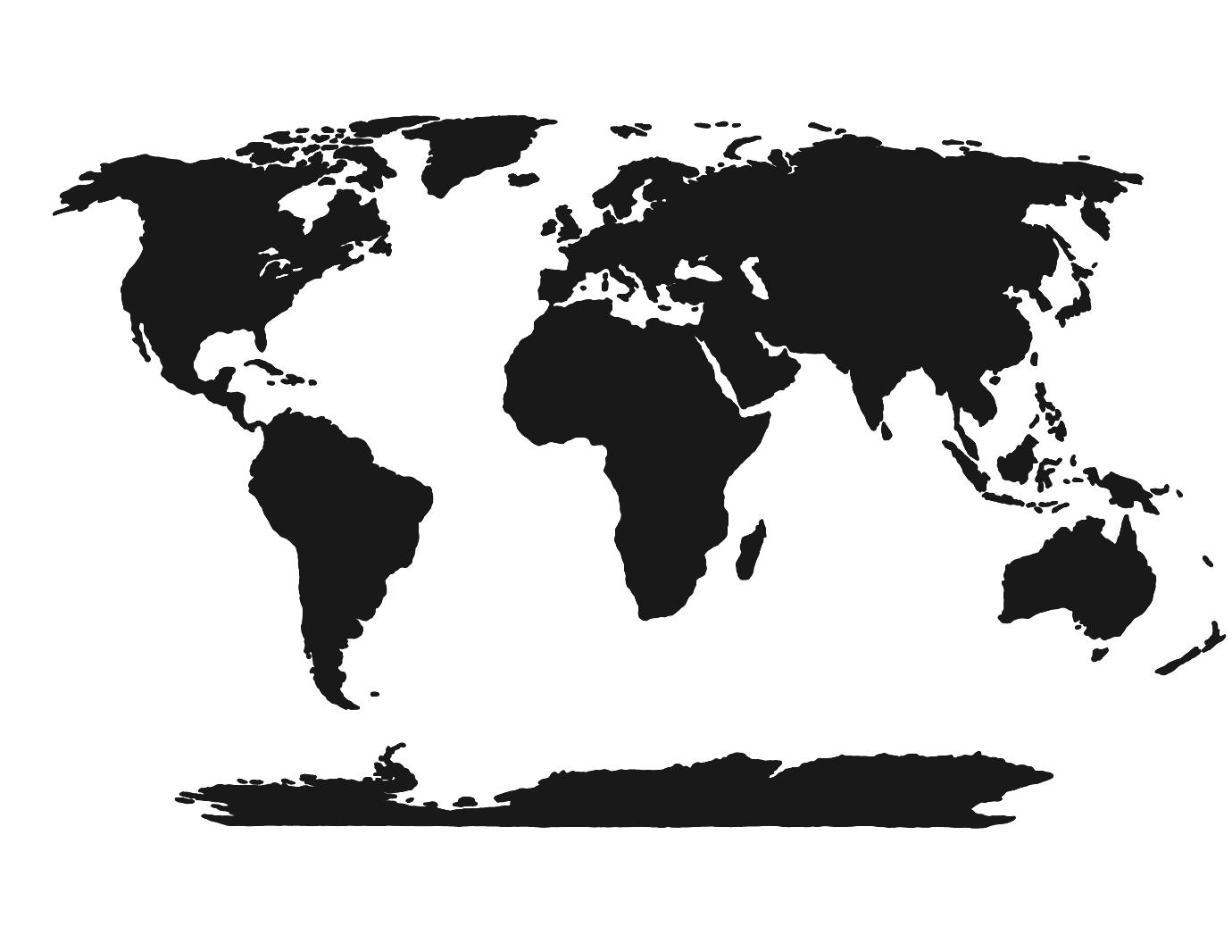 Continent clipart black and white For World Printable White White
