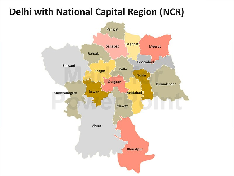 Continent clipart delhi  Region Map (NCR) with