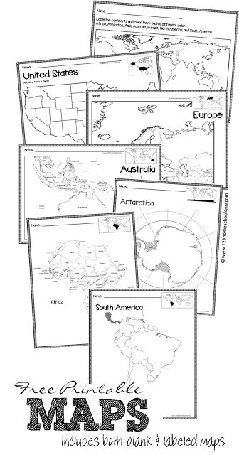 Continent clipart labeled Ideas of printable Maps Best