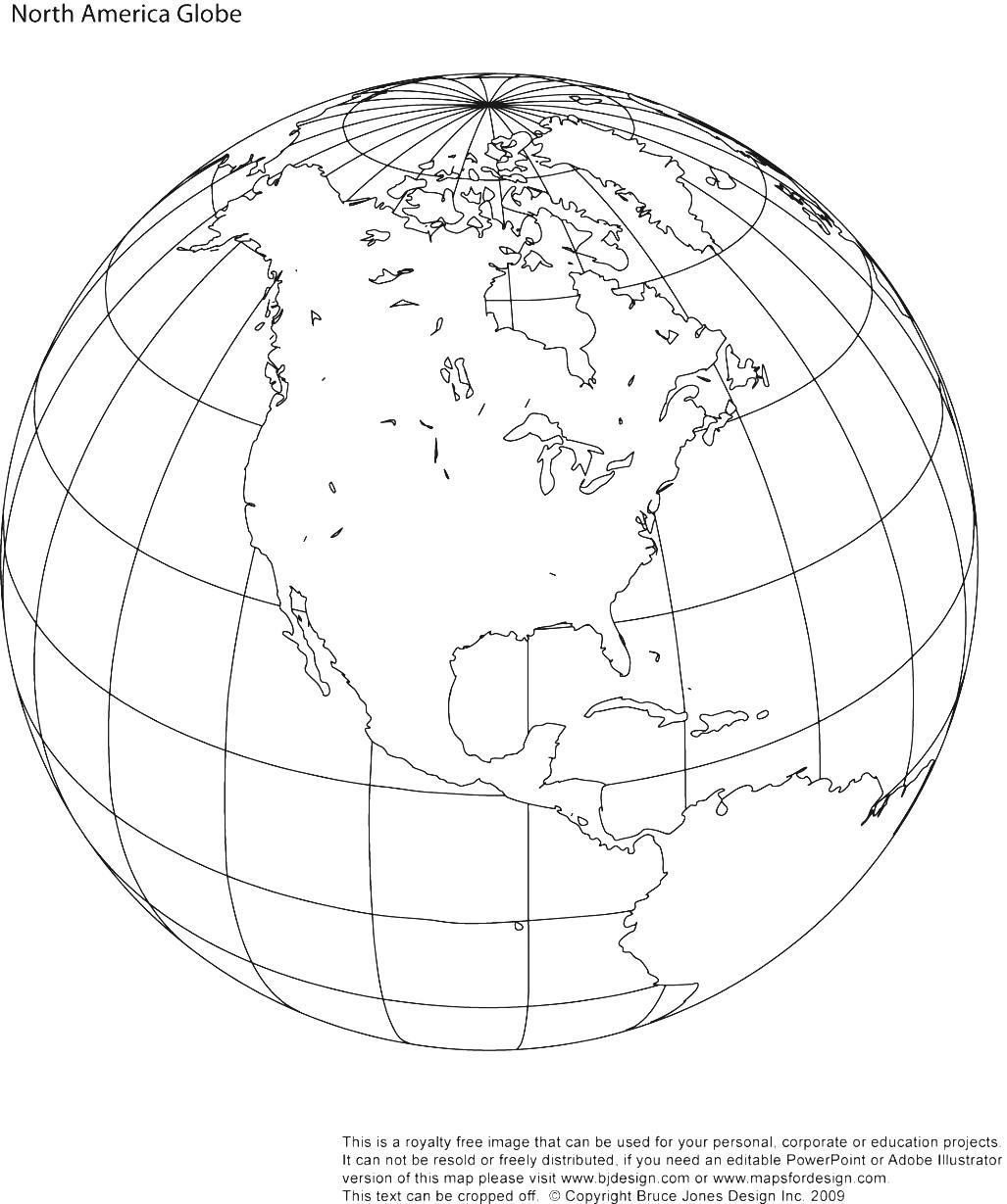 Drawn globe Outline Usa Mexico Map Central