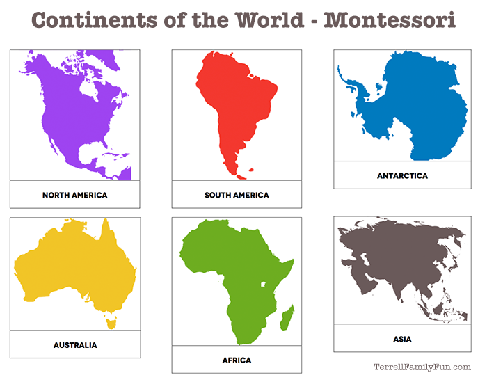 Continent clipart printable The World Continents Printable the