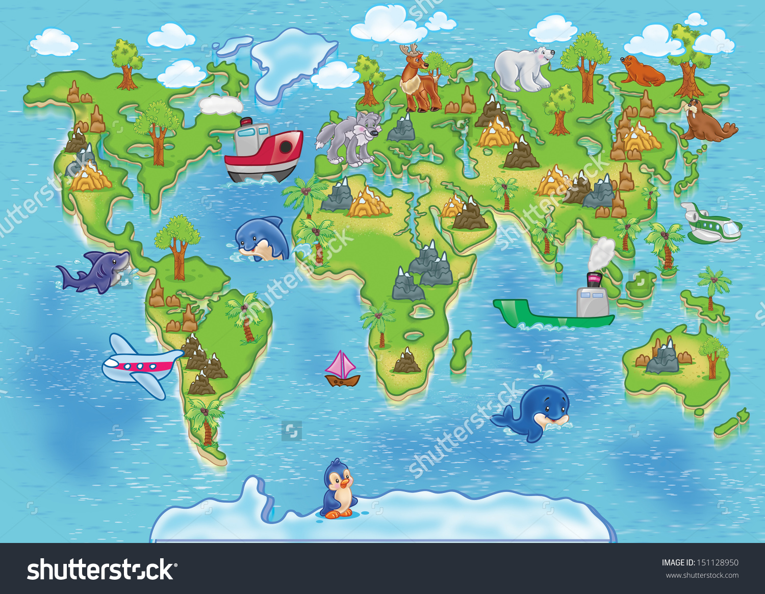 Continent clipart world map Cartoon A Map Map To