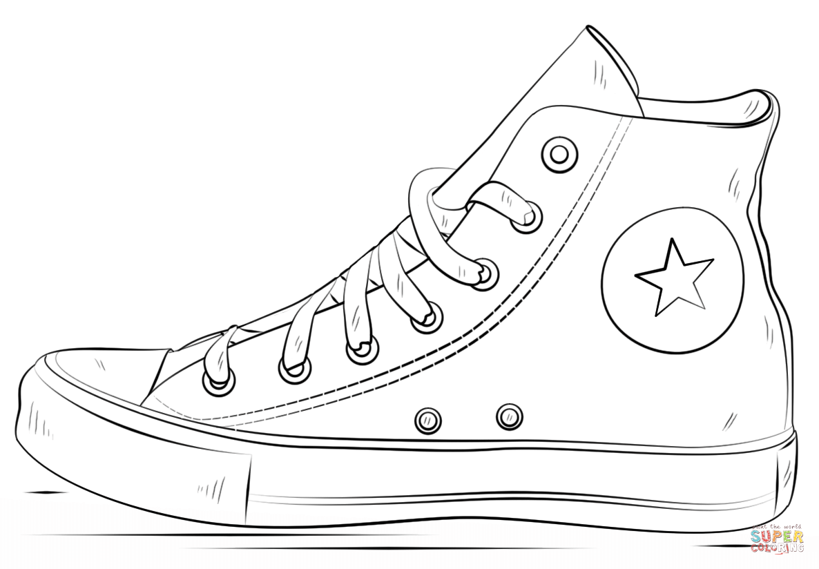 Converse clipart black and white Shoes Pages Printable Free the
