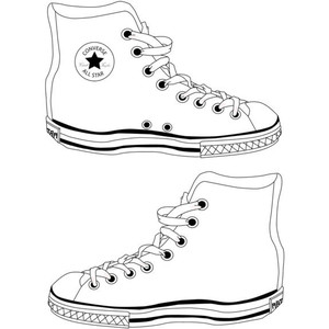 Converse clipart black and white !!! outline converse Polyvore STYLE