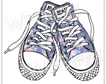 Drawn converse clip art Chic sneakers png digital jpeg