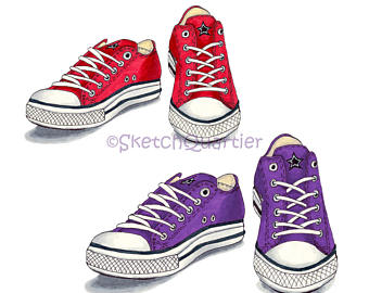 Converse clipart rubber shoe Transparent instant download digital Purple