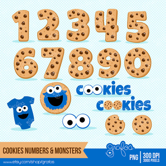 Cookie Monster clipart transparent (JPG) clipart MONSTERS 3 COOKIES