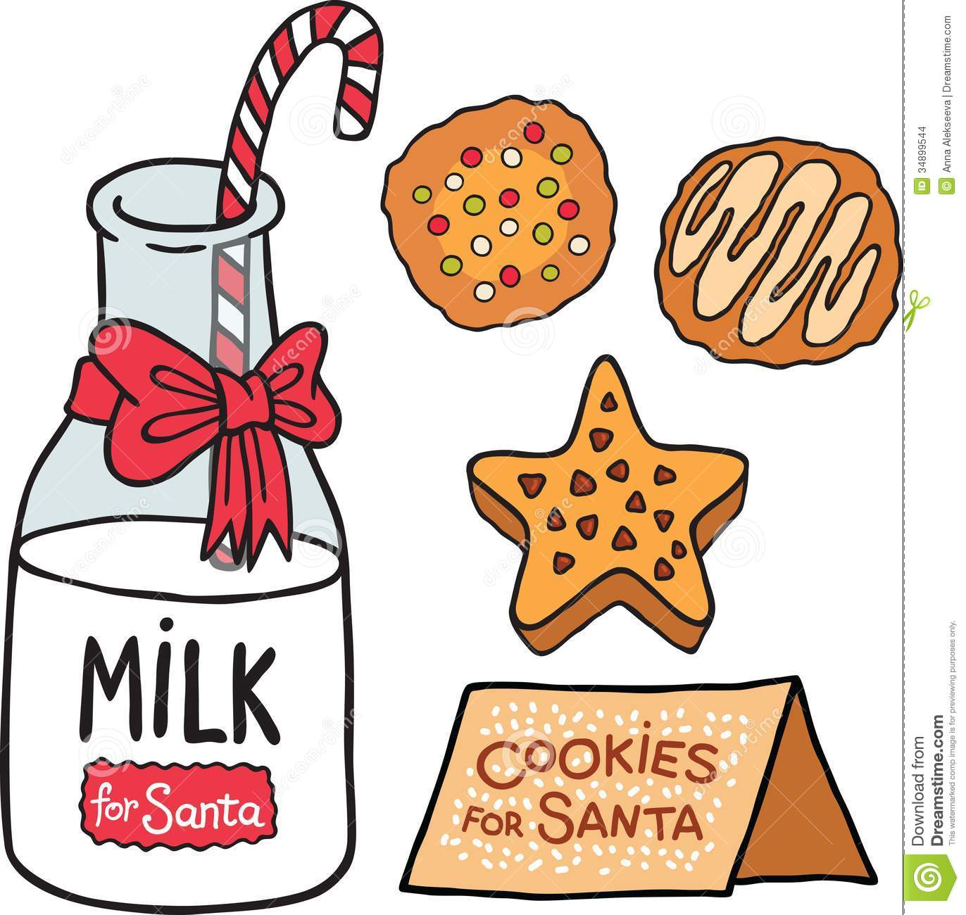 Santa clipart milk and cookie #3