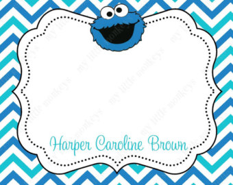 Cookie Monster clipart thank you PRINTED Cookie Return card Free