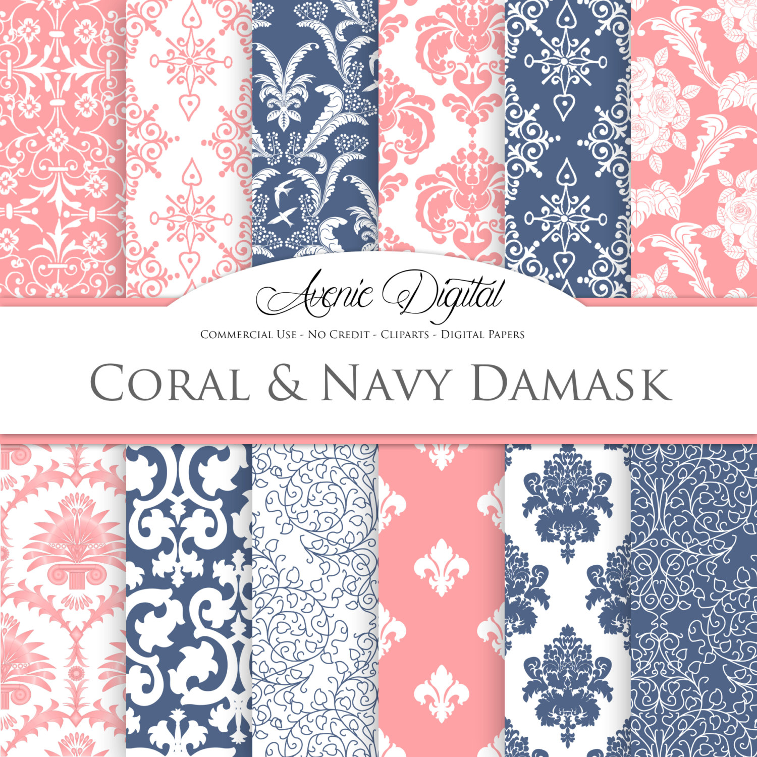 Damask clipart coral Backgrounds and Navy a Damask