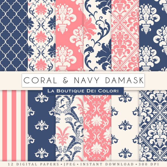 Damask clipart coral Of for digital paper