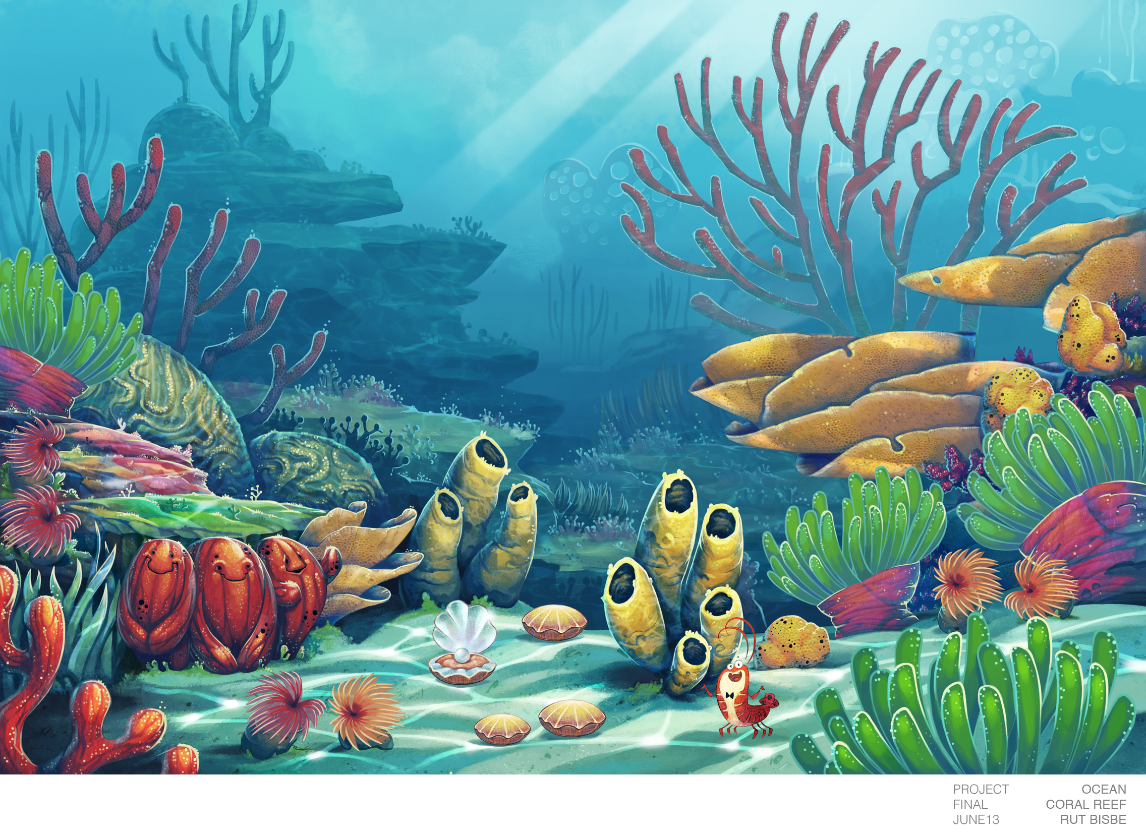 Drawn ocean ocean life On background Coral coral by