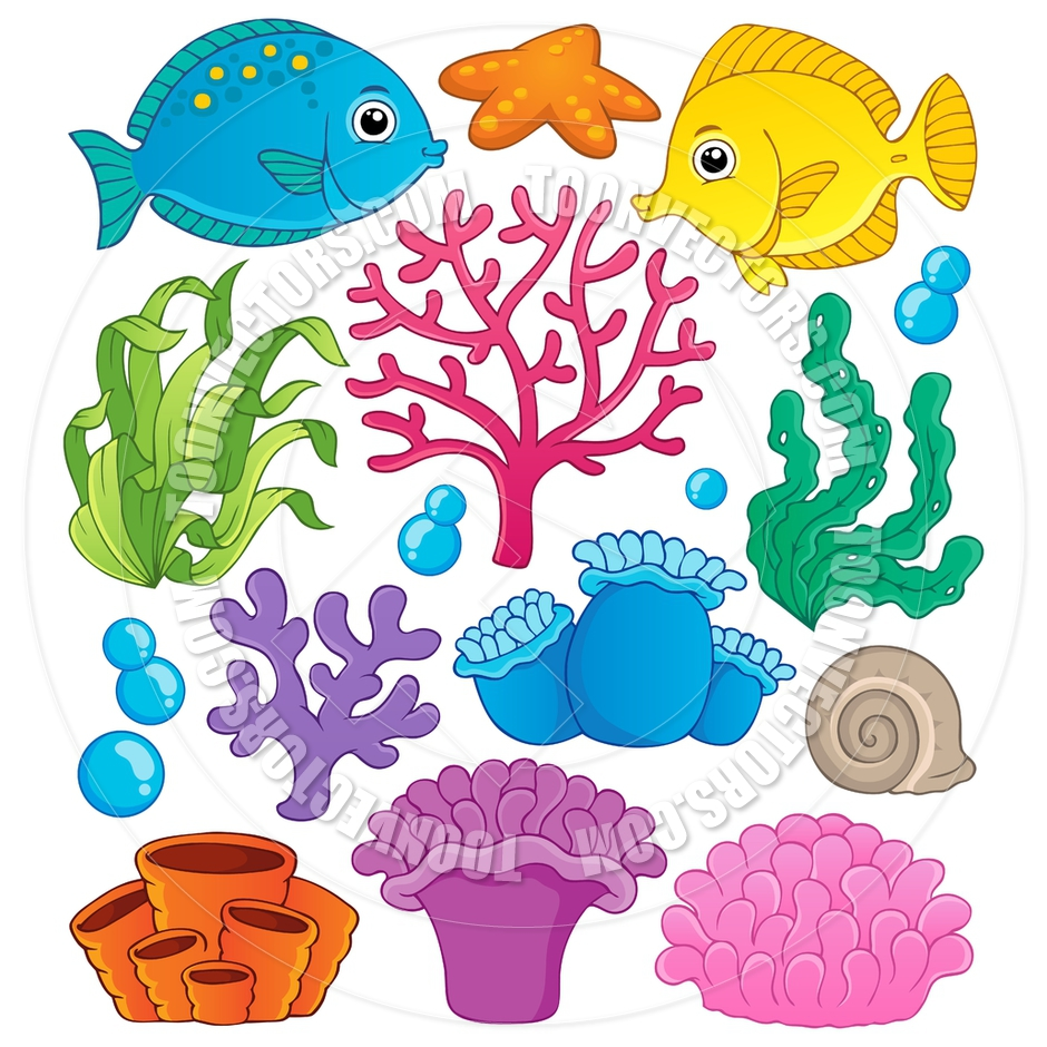 Sea clipart coral reef fish #6