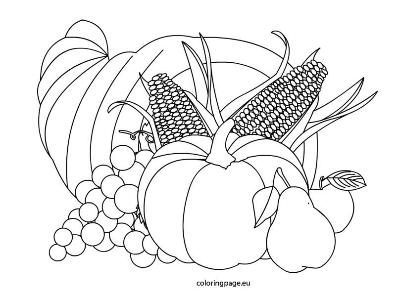 Cornucopia clipart color With  coloring coloring cornucopia